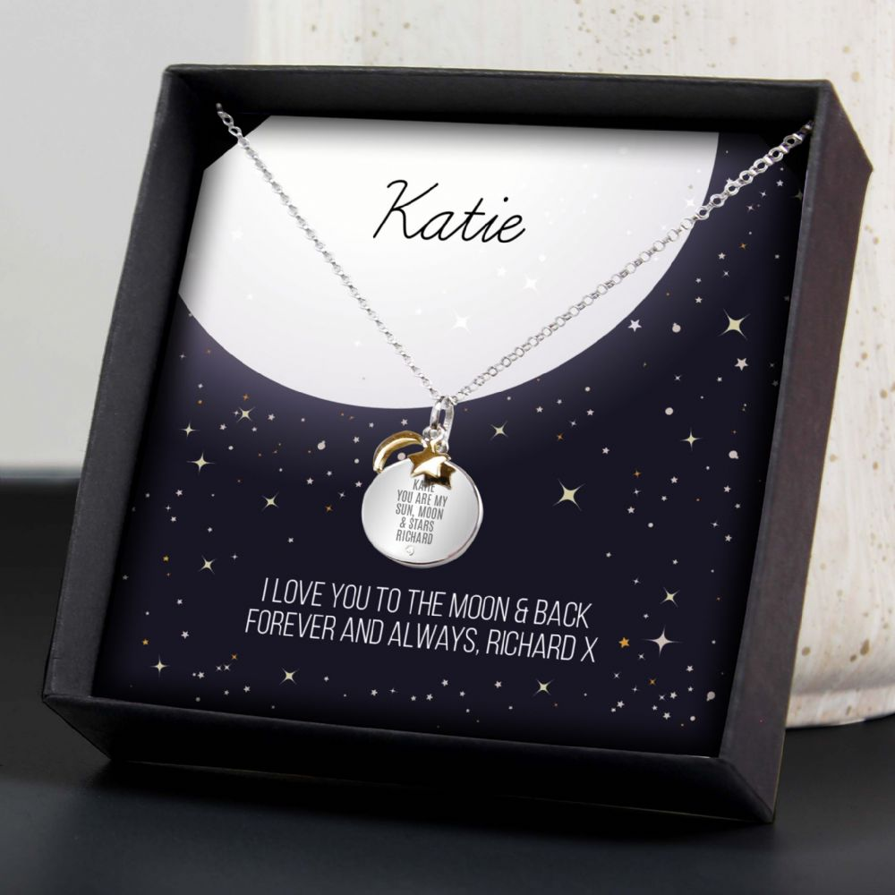 Sun Moon & Stars Sterling Silver Necklace Personalised Gift Any Message Any Name